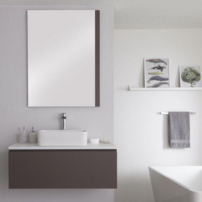 Hudson Reed Newington - 1000mm Grauer Unterschrank mit weißer Platte und quadratischem Aufsatzwaschbecken