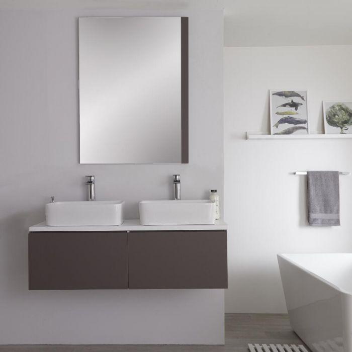 Hudson Reed Newington - 1200mm Grauer Unterschrank mit weißer Platte und quadratischem Doppel-Aufsatzwaschbecken