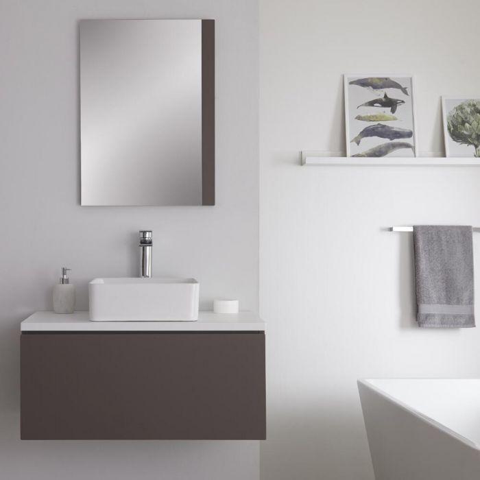 Hudson Reed Newington - 800mm Grauer Unterschrank mit weißer Platte und quadratischem Aufsatzwaschbecken