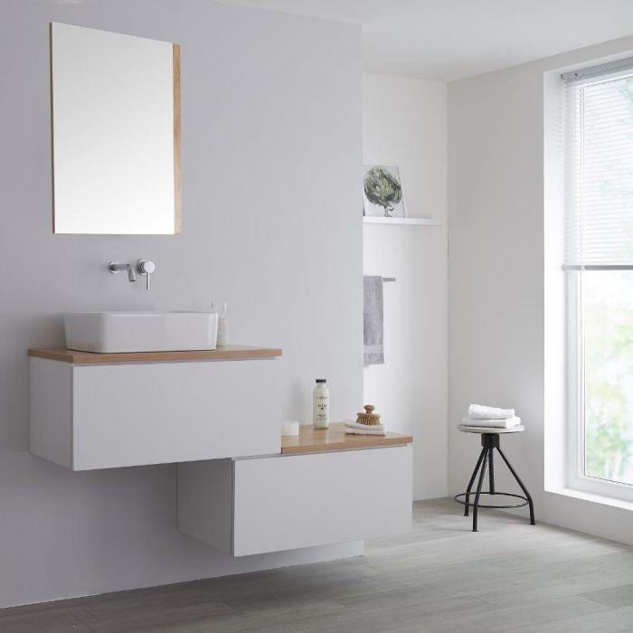 Newington - 1400mm Weißer & Eichenholz abgesetzter Unterschrank mit Aufsatzwaschbecken
