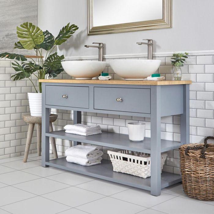 Waschtischunterschrank mit 2 runden Aufsatzwaschbecken und offenen Fächern B 1240mm Hellgrau - Stratford