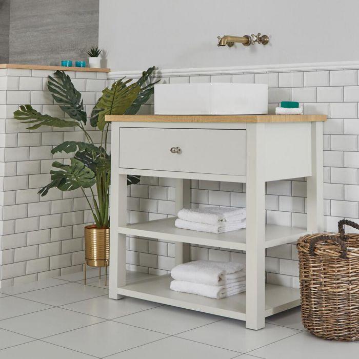 Waschtischunterschrank mit eckigem Aufsatzwaschbecken und offenen Fächern B 840mm Antik Weiß - Stratford