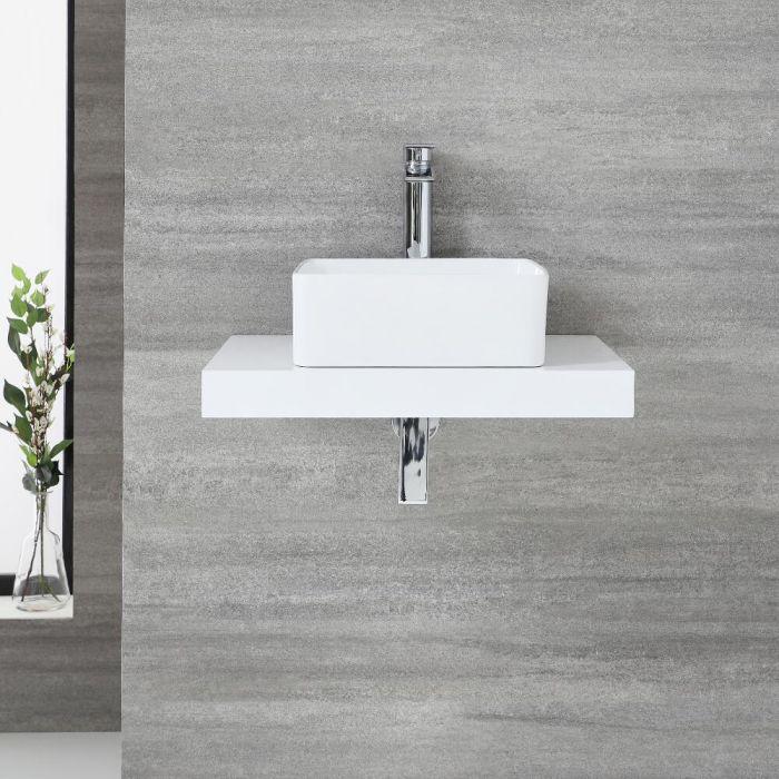 Schweberegal 600mm Weiß Cluo & Aufsatz-Waschbecken 360mm Alswear