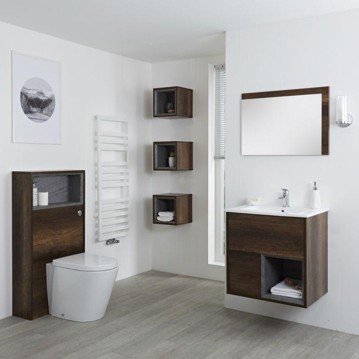 Hudson Reed Hoxton 600mm Waschtischunterschrank, WC mit Spülkastenverkleidung, Regalboxen & Spiegel - Dunkle Eiche