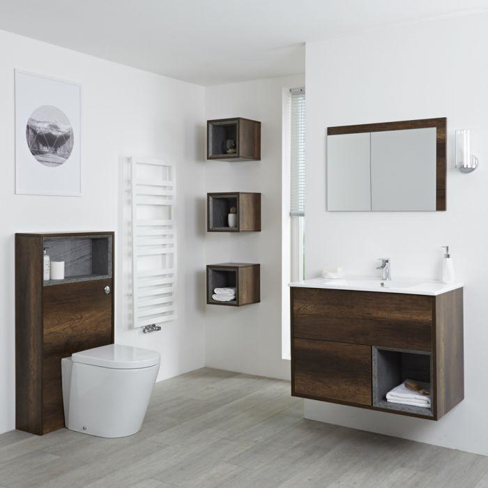 Hudson Reed Hoxton 800mm Waschtischunterschrank, WC mit Spülkastenverkleidung, Regalboxen & Spiegel - Dunkle Eiche