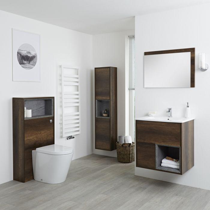 Hudson Reed Hoxton 600mm Waschtischunterschrank, WC mit Spülkastenverkleidung, Schrank & Spiegel - Dunkle Eiche
