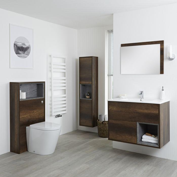 Hoxton - 800mm Waschtischunterschrank, WC mit Spülkastenverkleidung, Schrank & Spiegel - Dunkle Eiche