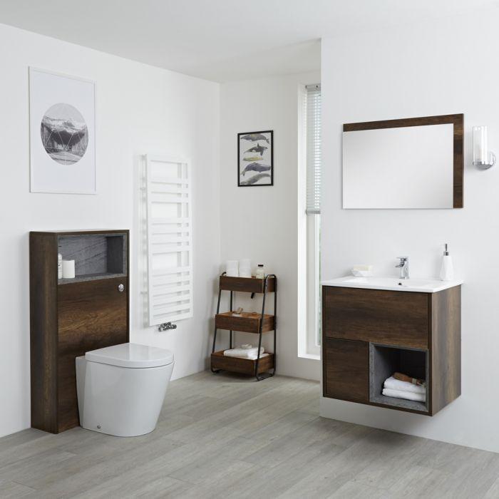Hoxton 600mm Waschtischunterschrank und WC mit Spülkastenverkleidung - Dunkle Eiche