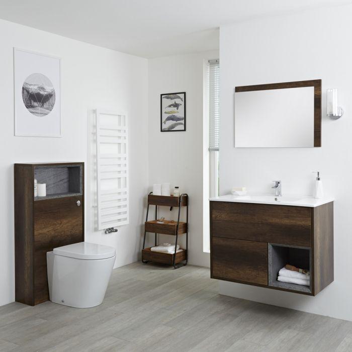 Hudson Reed Hoxton 800mm Waschtischunterschrank und WC mit Spülkastenverkleidung - Dunkle Eiche