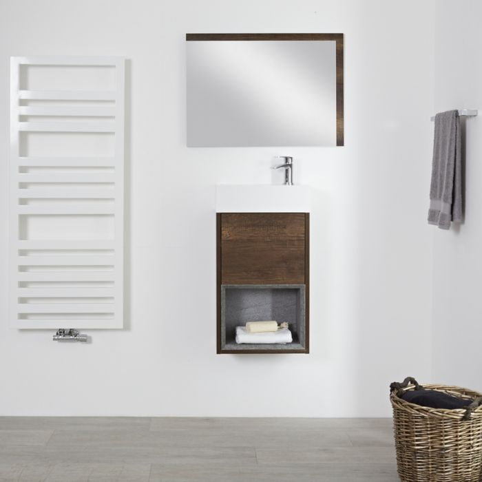 Hoxton - 400 mm moderner offener Waschtischunterschrank mit Waschbecken – dunkle Eiche
