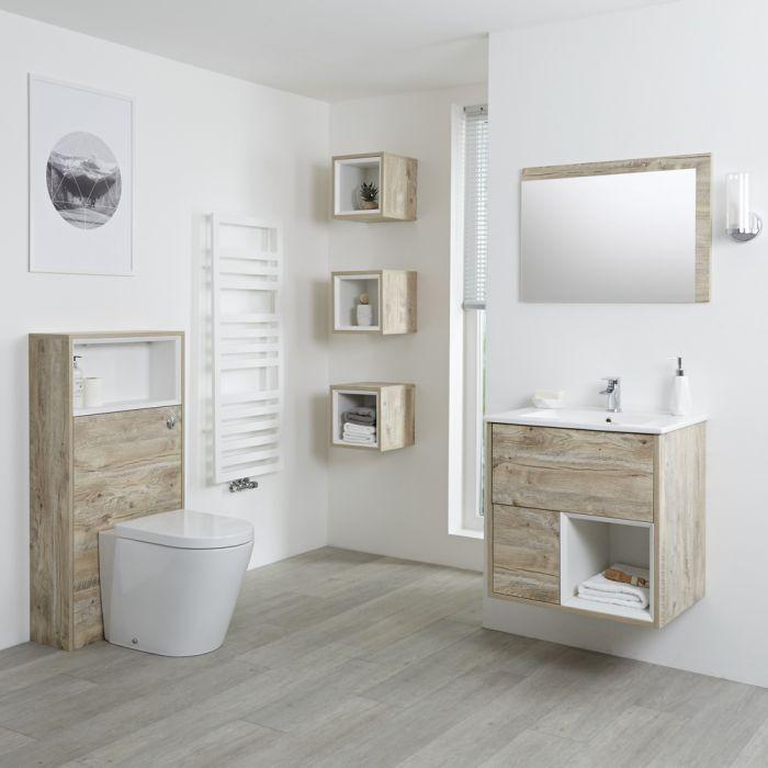 Hoxton 600mm Waschtischunterschrank, WC mit Spülkastenverkleidung, Regalboxen & Spiegel - Helle Eiche