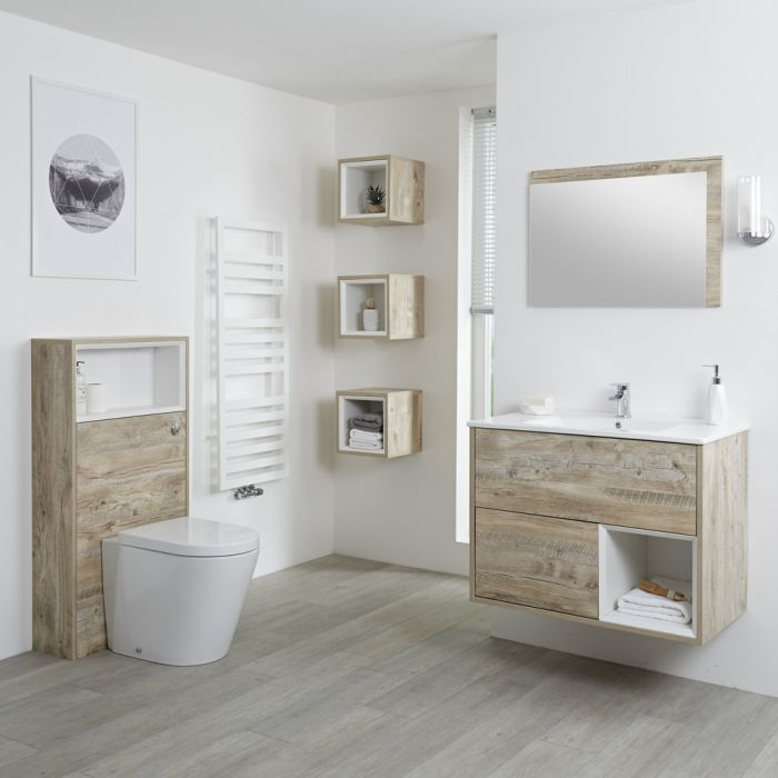 Modernes Badezimmerset – mit Waschtischunterschrank (B 800mm), Stand-WC mit Spülkastenverkleidung, Regalboxen und Spiegel - Helle Eichen-Optik - Hoxton