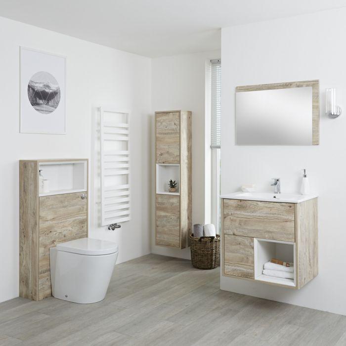 Hudson Reed Hoxton 600mm Waschtischunterschrank, WC mit Spülkastenverkleidung, Schrank & Spiegel - Helle Eiche