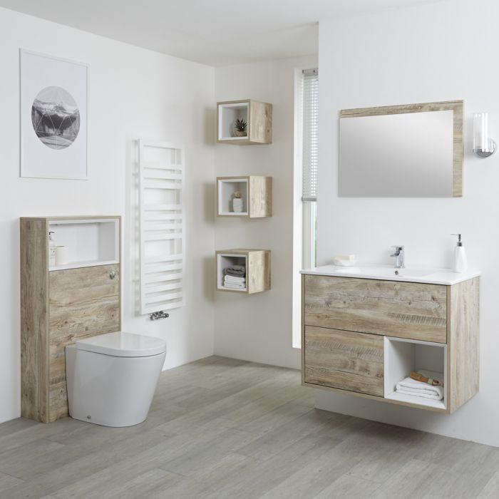 Hudson Reed Hoxton 800mm Waschtischunterschrank & WC mit Spülkastenverkleidung - Helle Eiche