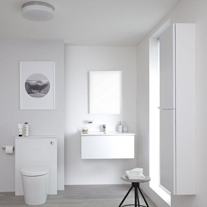 Newington - Waschtisch mit Unterschrank 800mm, WC mit Vorwandelement, Badschrank & Spiegel - Mattweiß