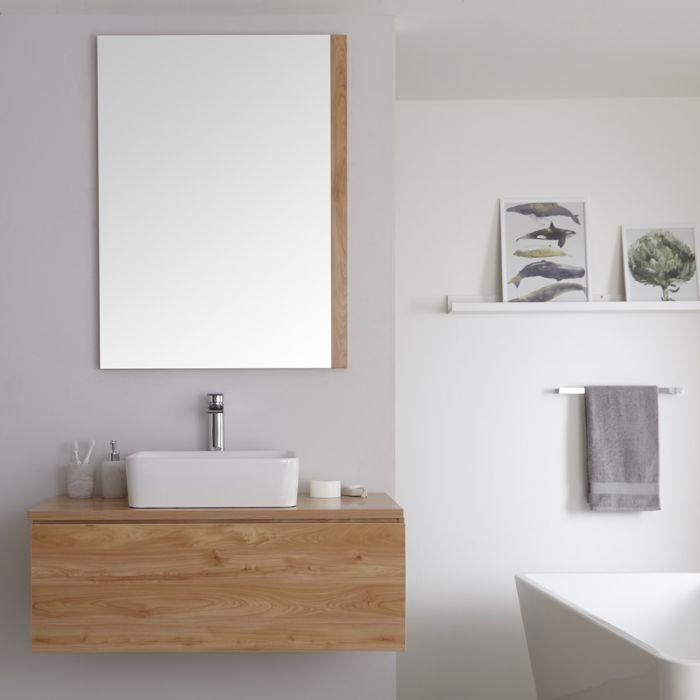 Unterschrank (510mm x 1000mm) mit rechteckigem Aufsatzwaschbecken – goldene Eichen-Optik - Newington