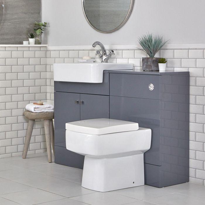 Waschtischunterschrank mit Waschbecken und integrierter Toilette, Grau, 1170mm - Atticus