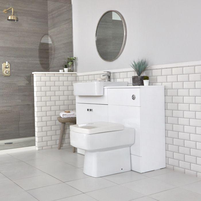 Waschtischunterschrank mit Waschbecken und integriertem WC Weiß B 1170mm - Atticus