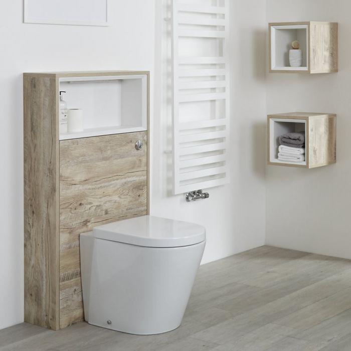 Hoxton - 1150mm moderne Toilettenverkleidung mit Ablage - Helle Eiche
