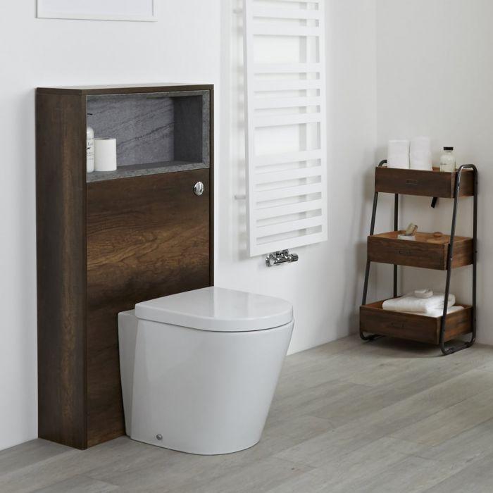 Hoxton - 600mm WC-Einheit mit wandabschließender Toilette - Dunkle Eiche