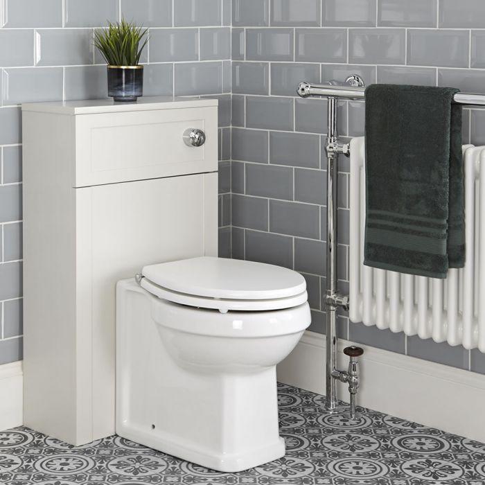 Nostalgie Stand WC mit 500mm Spülkastenverkleidung Antikweiß, inkl. Spülkasten und Sitz - Thronton