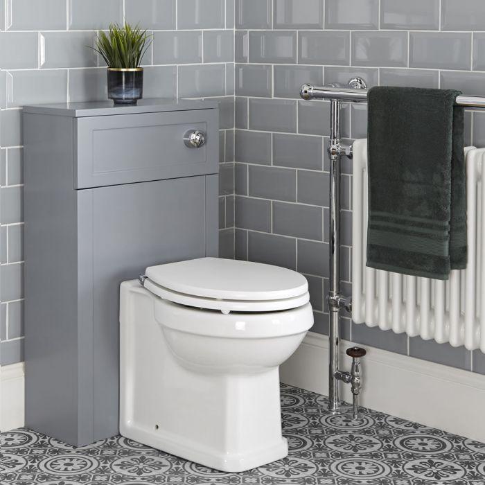 Nostalgie WC mit 500mm Spülkastenverkleidung Hellgrau, inkl. Spülkasten und Sitz - Thornton