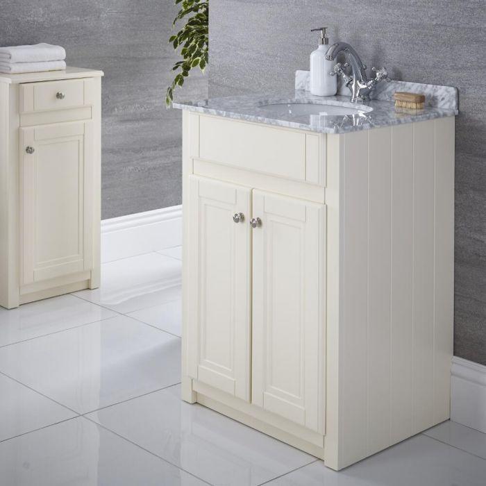 Waschtischunterschrank mit Waschbecken 600mm Elfenbein - Charlton