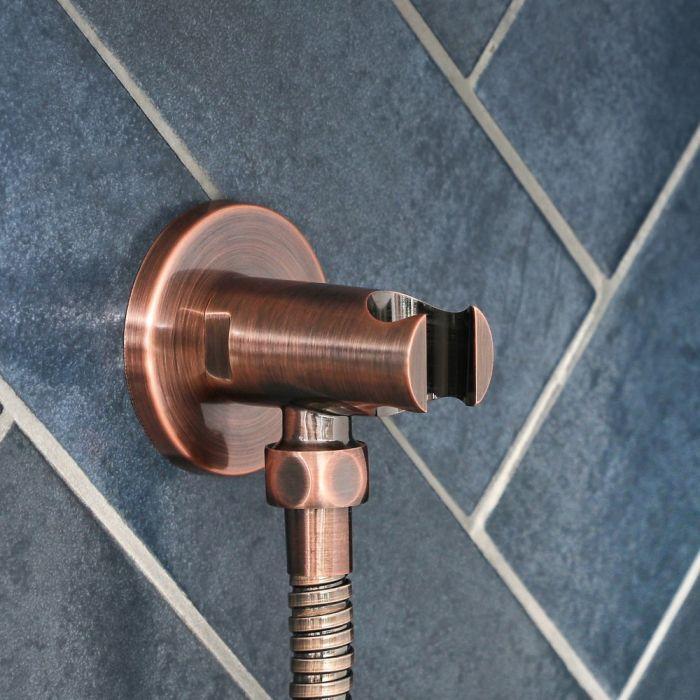 Runder Auslassbogen mit Brausehalterung für Handduschen, Gebürstetes Kupfer - Amara