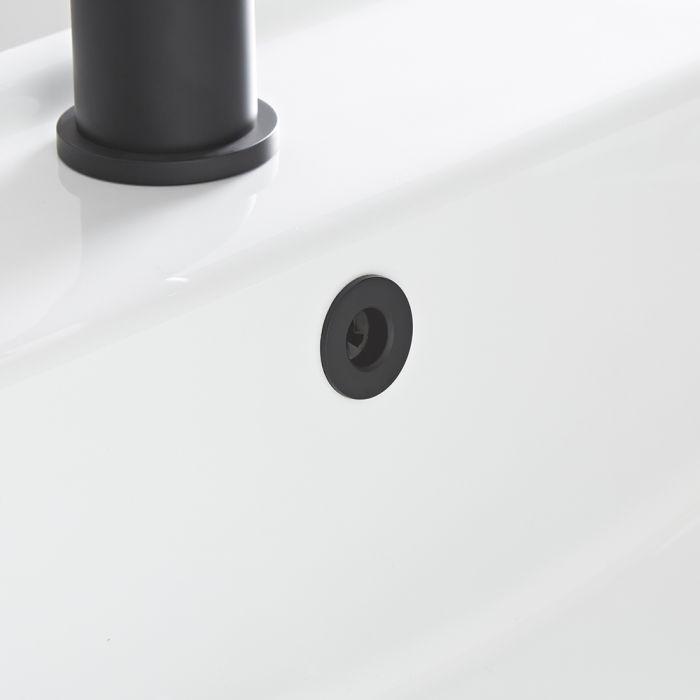 Überlauf-Rosette in Schwarz, für Waschbecken