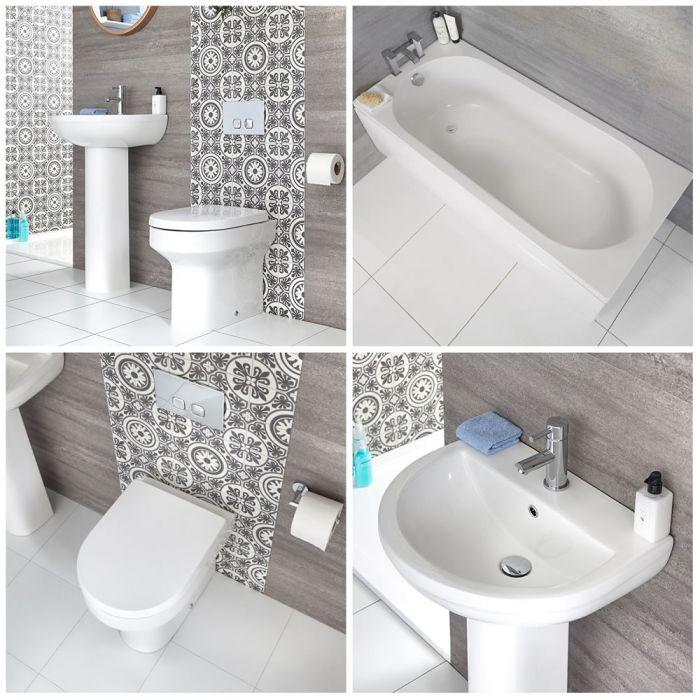 Säulenwaschbecken, WC mit Unterputz-Spülkasten und gerade Badewanne - Covelly