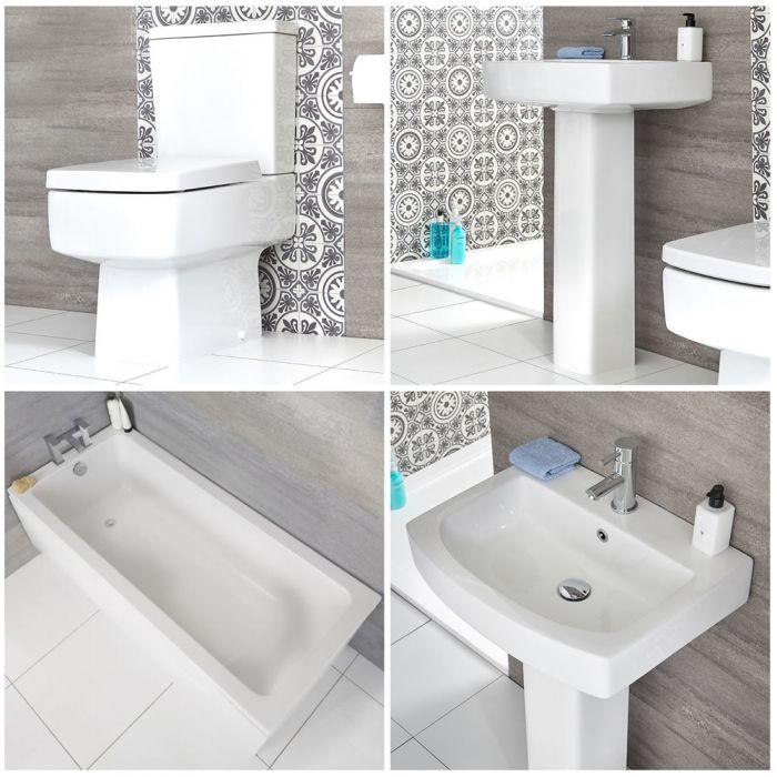 Säulenwaschbecken, WC mit aufgesetztem Spülkasten und Badewanne - Exton