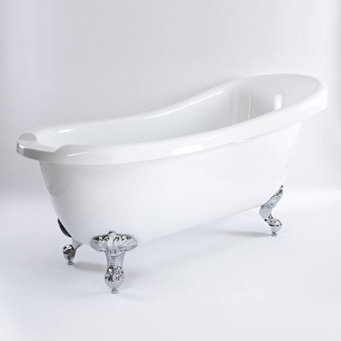 Freistehende Badewanne mit erhöhter Rückenschräge, 1710mm x 740mm - Füße wählbar - Oxford