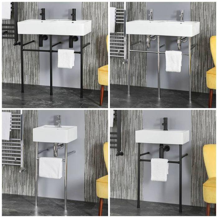 Waschbecken mit Metallgestell – Größe und Finish wählbar – Halwell