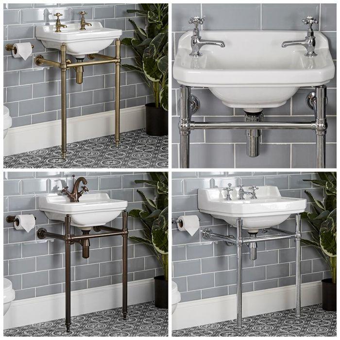 Traditionelles Waschbecken mit Gestell, Größe und Rahmenausführung wählbar - Richmond