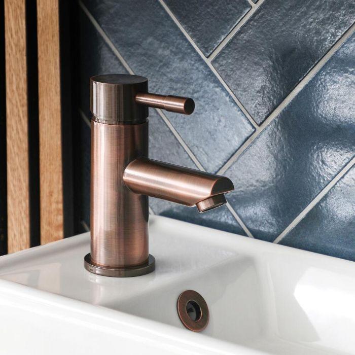 1-Loch Einhebel-Waschtischarmatur Gebürstetes Kupfer - Amara