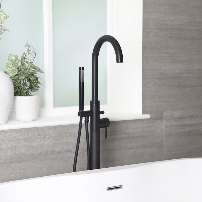 Nox - Schwarze freistehende Badewannenarmatur