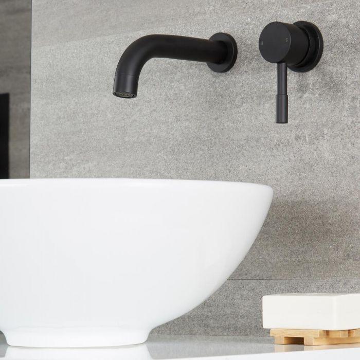 Schwarze wandmontierte Waschtischarmatur - Nox