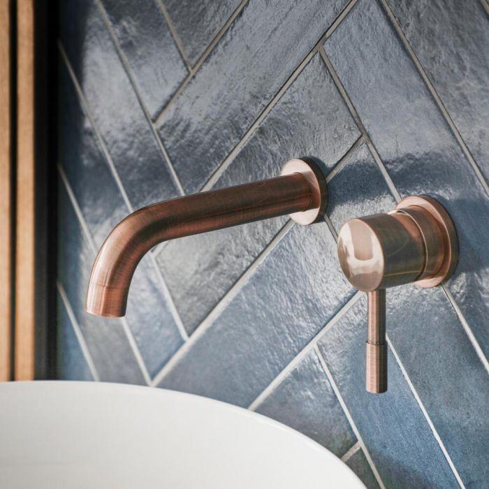 Einhebel-Waschtischarmatur Wandmontage Gebürstetes Kupfer - Amara