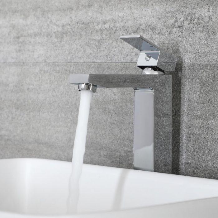 1-Loch Waschtisch-Armatur für Aufsatzwaschbecken Chrom - Kubix