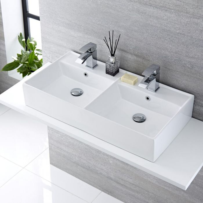 Doppel-Aufsatzwaschbecken Halwell Rechteckig 820mm x 420mm mit 2x Standarmaturen Wick im Set