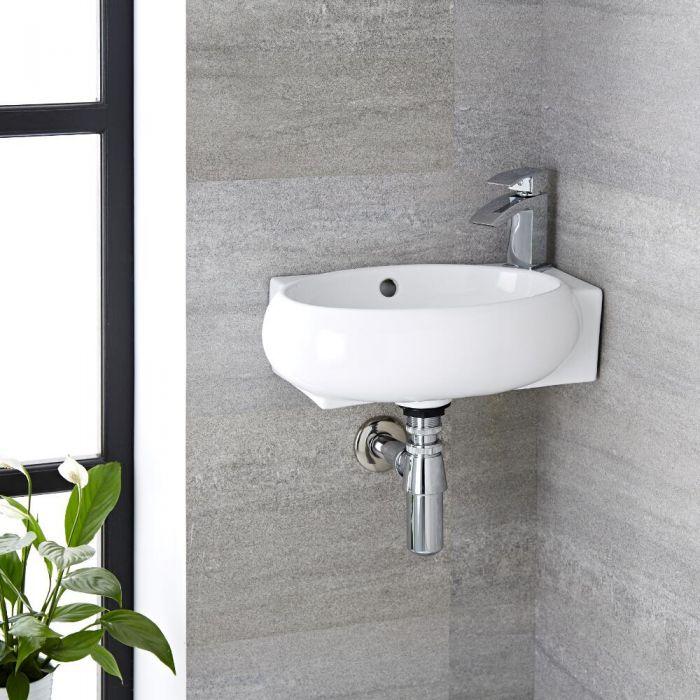 Hängewaschbecken, oval, 430mm x 280mm, Eckeinbau - mit Wasserfall-Einhebelmischer - Ashbury
