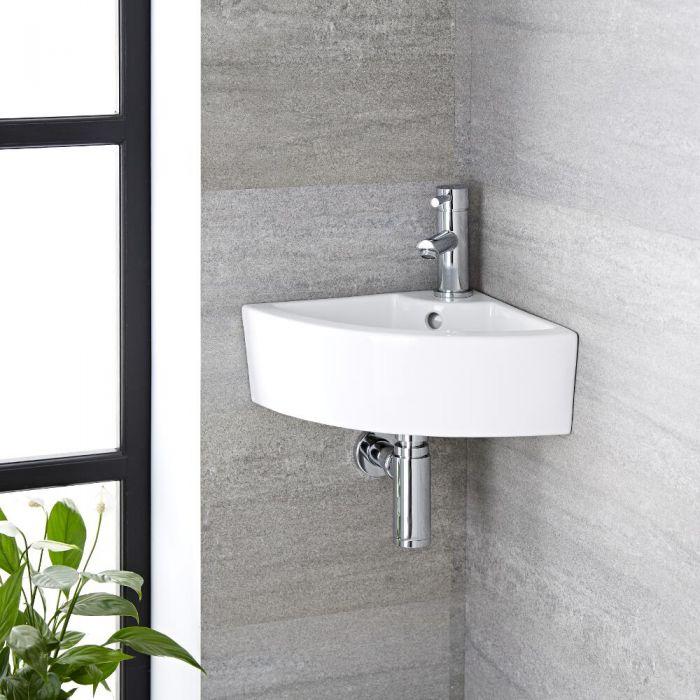 Hängewaschbecken, 460mm x 320mm, Eckeinbau - mit Einhebelmischer - Belstone