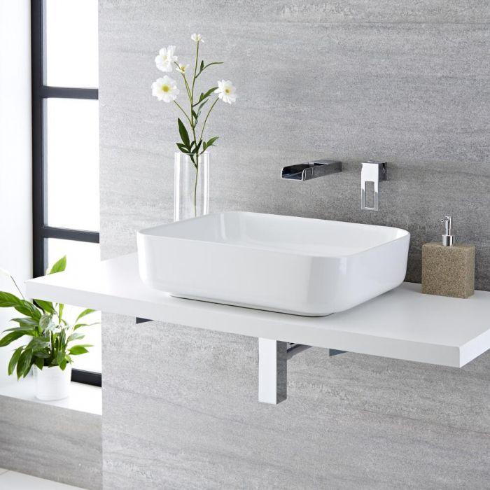 Aufsatzwaschbecken, rechteckig, 500mm x 390mm - mit Unterputz Wasserfall-Einhebelmischer - Milton