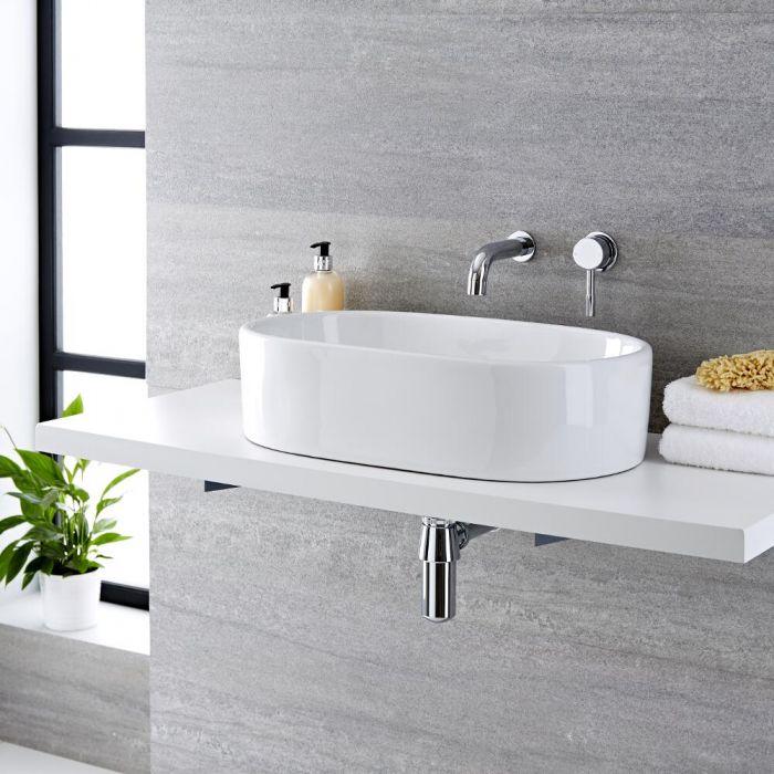 Aufsatzwaschbecken, oval, 575mm x 360mm - mit Unterputz-Einhebelmischer - Otterton
