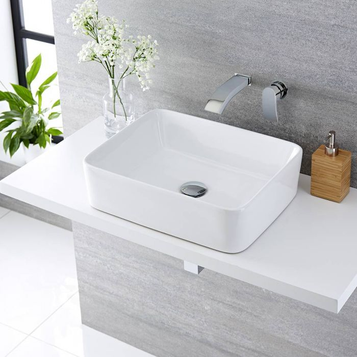 Aufsatzwaschbecken, rechteckig, 480mm x 370mm - mit Unterputz Wasserfall-Einhebelmischer - Alswear