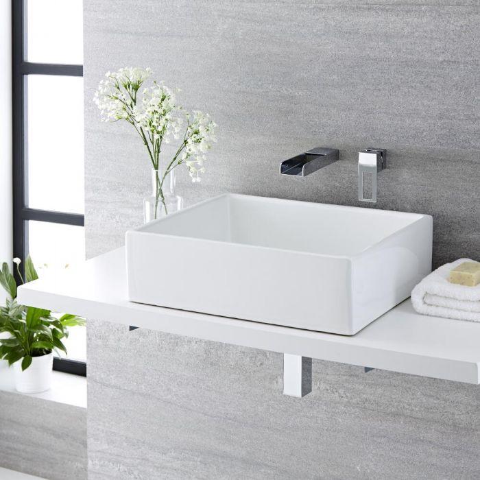 Aufsatzwaschbecken, rechteckig, 490mm x 390mm - mit Unterputz Wasserfall-Einhebelmischer - Haldon