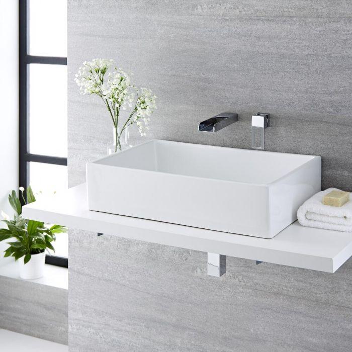 Aufsatzwaschbecken, rechteckig, 610mm x 400mm - mit Unterputz Wasserfall-Einhebelmischer - Haldon
