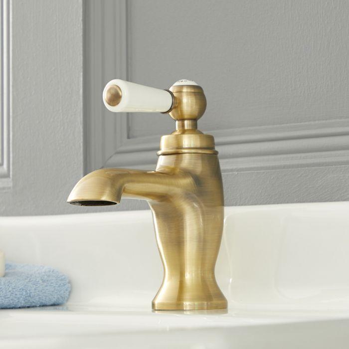 Traditionelle Einhebel-Waschtischarmatur mit Hebelgriff, Antikes Gold - Elizabeth