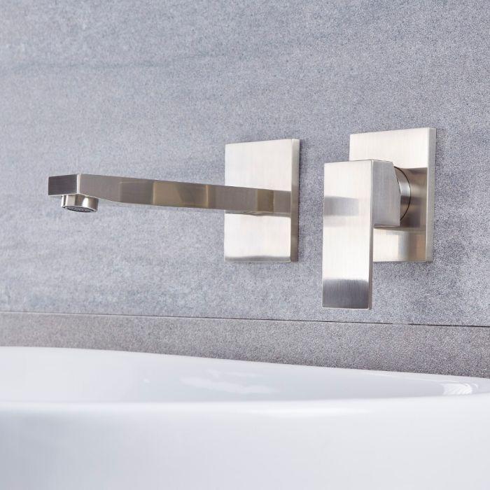 Unterputz-Waschtischarmatur mit Einhebelmischer, Wandmontage– gebürstetes Nickel – Kubix