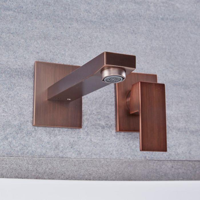 Unterputz-Waschtischarmatur mit Einhebelmischer, Wandmontage – geölte Bronze – Kubix